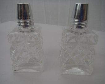 Vintage 1960's Japanese clear glass salt and pepper shakers-metal capped-retro-pyramid shaped