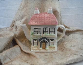 1980's Ceramic Tea Pot House with Pink Roof - Antique, Retro, Vintage, Decorum, Usable