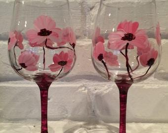 Handpainted Pink Poppy Wine Glasses (set of 2)