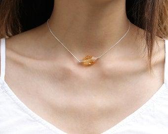 Citrine Choker Necklace, Raw Yellow Quartz Crystal Jewelry, 925 Sterling Silver, Healing Gemstone, Statement Choker, November Birthstone