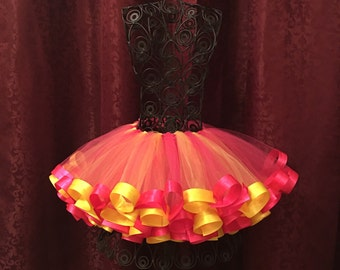 Pink and yellow ribbon tutu