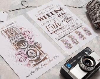 Vintage Camera Wedding Invitation - Invite Suite sample