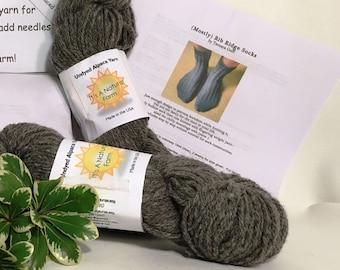 Ribbed Ridge Sock Kit with Undyed Alpaca Yarn