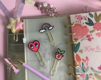 Planner Clips: Heart shape clips/ Rainbow Clips/ Plants Clips