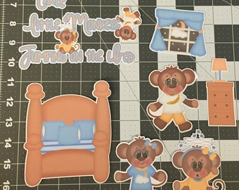 Scrapbooking Die Cuts- 3 Little Monkeys Jumping on the Bed- 10 piece set. Sizes can be adjusted upon request.