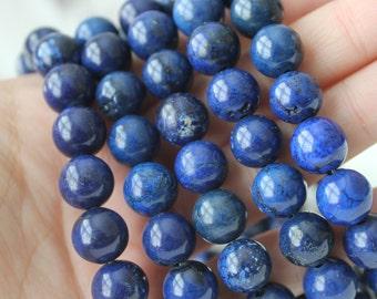 10mm Blue Magnesite Round Beads Full Strand Jewelry Supply Authentic Gemstone Dark Blue