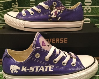 Kansas State University Wildcats Custom Made Converse Chuck Taylor Sneakers