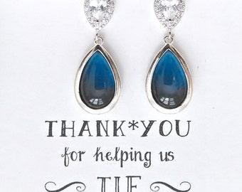 Set of 4 Navy Blue Wedding Earrings, Navy Wedding Jewelry, Navy Blue Bridesmaid Jewelry, Set of 5, 6, 7, 8, 9, 10, earrings, ES4