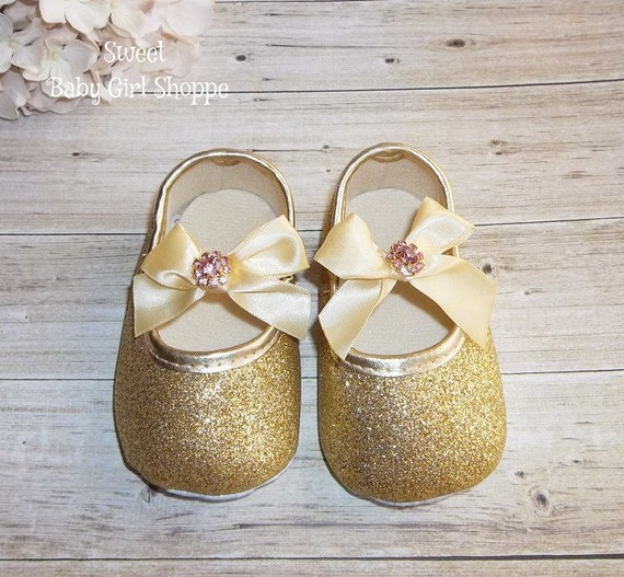 gold baby shoes gold glitter shoes gold birthday