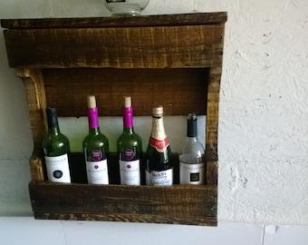 Rustic Wood wine Rack With Shelf Wall Mounted Wine Rack