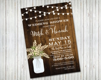 Couples Shower Bridal Shower Engagement Party Invitation Rustic
