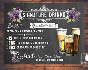 Wedding Signature Drinks, Bar Menu, Hand crafted Beer, Wedding Brews, Purple floral, Bar Menu sign, Beer sign, Chalkboard, Digital file