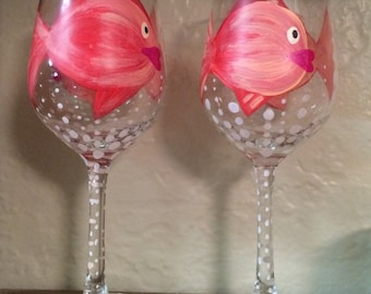 Painted fish wine glass