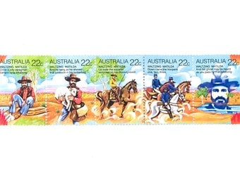 5 x Waltzing Matilda Australia UNused Mint 22 cents Postage Stamps in Strip - card making, crafts, collage, postage, mail art - Australian