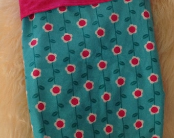 NEW PRICE**  Teal and Hot Pink Flannel Baby Blanket, Snuggle Receiving Blanket