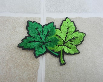 Green Leaf Embroidered Patch Iron/Sew On