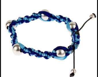 Sterling Silver Woven Friendship Ribbon Bracelet, Plaited Bracelet, Adjustable Size