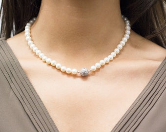 Freshwater Pearl Necklace with Cubic Zirconia Magnetic Clasp, Pearl Strand Necklace