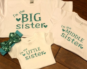 big sister Shirt, middle sister Shirt, little sister shirt, sister shirts, big sister shirt, little sister shirt, middle sister shirt,