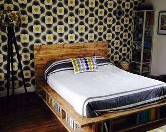 Vintage Industrial Bookcase Bed (HANDMADE UK)