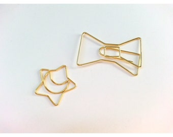 Planner Gold Star Moon Kate Spade Bow Paper Clip