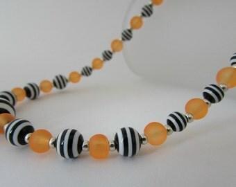 Orange, Black & White Striped Necklace