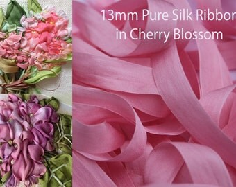 5 metres of 13 mm Pure Silk Ribbon in CHERRY BLOSSOM