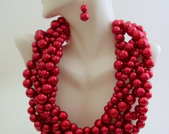 Red Necklace, Red Statement Necklace, Chunky Twisted Beaded Necklace, Collar Necklace, Multi Strands Necklace Set, Red Jewelry,