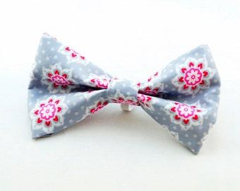 Pink Flower Dog Collar Bow Tie
