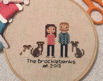 Custom Cross Stitched Family Portrait - 5 Characters - custom wedding gift, cotton anniversary gift