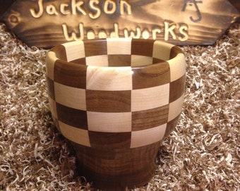 Walnut & Maple checkered bowl