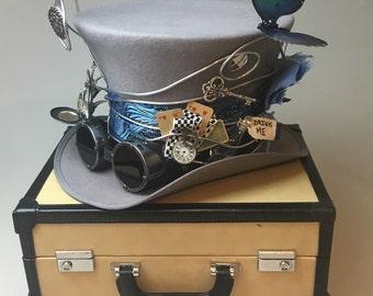 Alice and Wonderland Steampunk Mad Hatter Top Hat