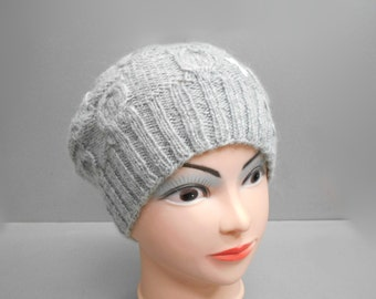 Winter Gray Hat with butterfly