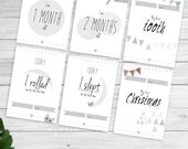 Baby milestones & moment cards in cute simple design - printable photo props baby photo cards, babys first moments