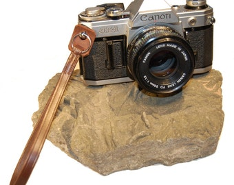 Hand Made Leather Camera Wrist Strap with Ring Attachment