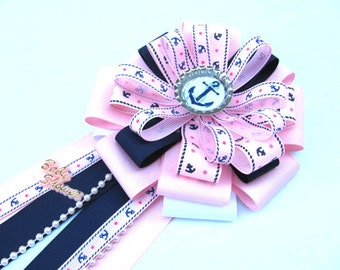Nautical Baby Girl Shower Corsage / Anchor Baby Girl Shower Corsage / Pink Baby Shower Corsage /Shower Corsage