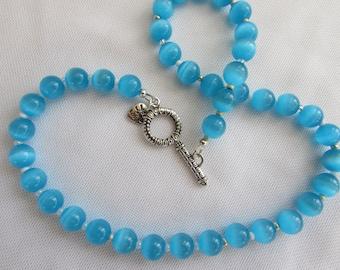 Aqua Blue Cat's Eye Bead Necklace