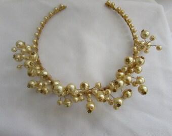 Titania - Gold plated and Pearl Tiara.