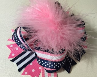 Pink and Navy Over The Top Hair Bows , Girls Hair Bows , Over The Top Boutique Hair Bow , OTT Feather Hair Bows , Baby Headband