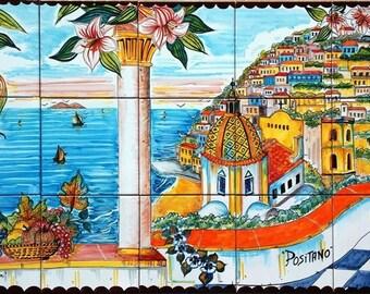 Italian Tile Murals  - Positano Italy Art Tile - Hand Painted Mural Backsplash - Kitchen Backsplash - Mural Designs - Landscape