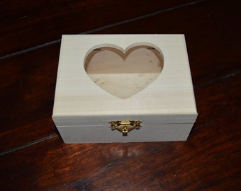 Unfinished wooden box with heart shaped hole