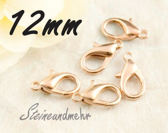 10x lobster clasps 12mm rosegold pl. #2375
