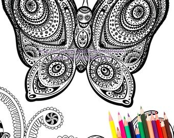Printable Coloring Page BUTTERFLY MANDALA - Download and Color!