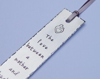 Personalized bookmark, the love between a mother and a daughter is forever, ribbon color choice, teacher student gift, mother daughter gift