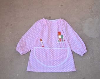 Art Smock 1-2 Years Long Sleeve Childrens Painting Apron Pink with White Polka Dots Tablier Filles Ecolier Enfant Rose Petit Pois Maternelle
