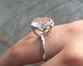 Diamond Ring, Topaz Jewelry, Natural Topaz, Promise Ring, Royal Jewelry, Pure Silver, Solid Silver Ring, White Topaz, 8 Carats