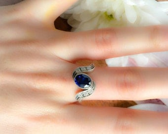 Blue Sapphire Ring, Royal Blue Ring, Something Blue Ring, Wedding Jewelry, Bridal Ring, Blue Crystal Ring, 925 Sterling Silver