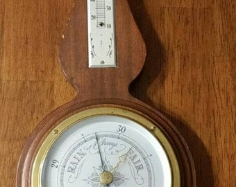 Barometer Weather Station by Airguide Instrument Company Chicago IL/Mahogany Wood/Sold As Is/Vintage 1970s/Repurpose use/Banjo Shape