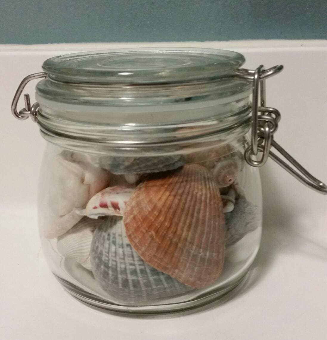 Description. This Is A Clear Glass Metal Clasp Storage Jar ...