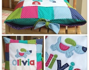 Patchwork Birth Pillow * Baby Boy Girl * New Baby Gift * Baptism Present * Christening Gift * Personalised * New Baby gift *